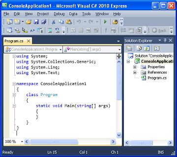 "... Microsoft Visual Studio Express"" > ""Microsoft Visual C# 2010 Express"