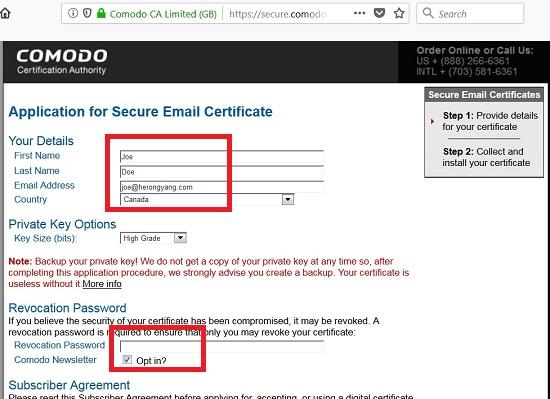 comodo free email certificate
