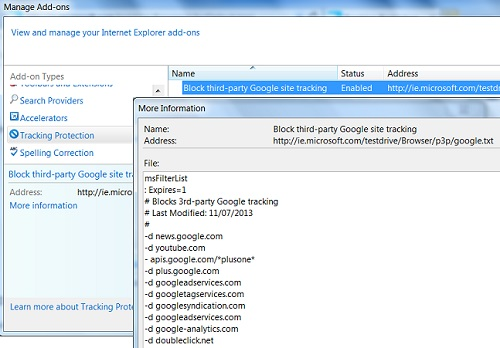 Adding Tracking Protection List in IE