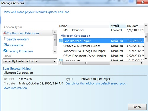 Disabling Extension Add-Ons in IE