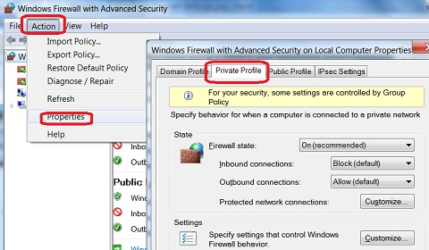 Windows 7 System Firewall Advanced Settings