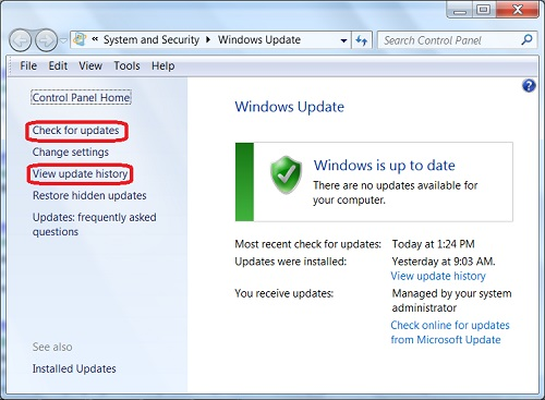 Windows 7: System Update Status