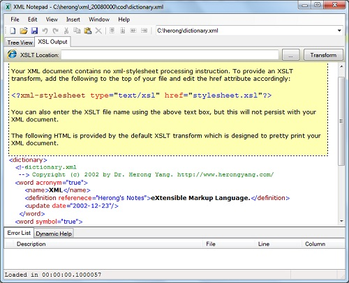 Viewing XML Documents in Source Code