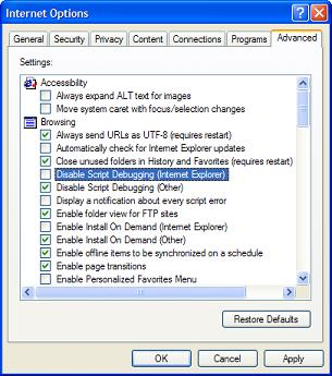 IE Option Setting - Enable Script Debugging